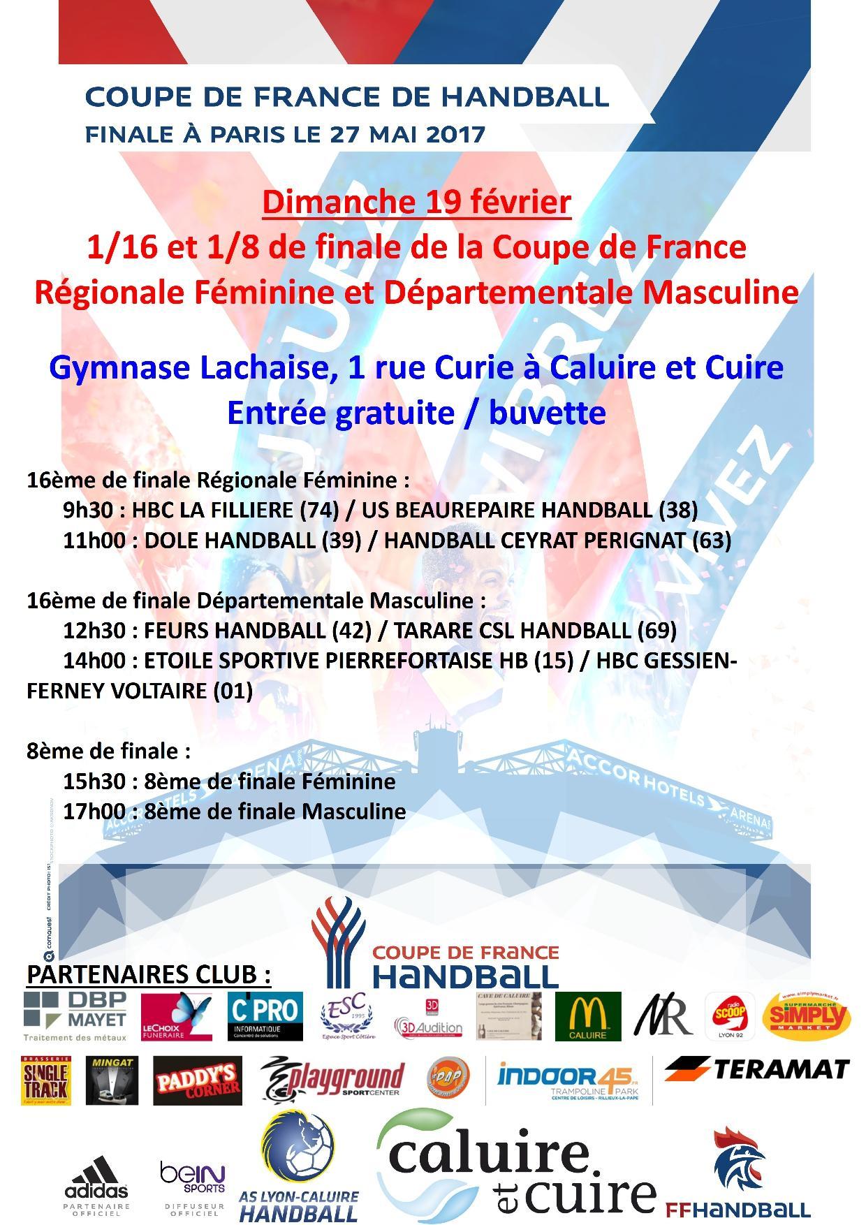 16 me et 8 me de finale de la coupe de france de handball - Tirage 8eme de finale coupe de france ...