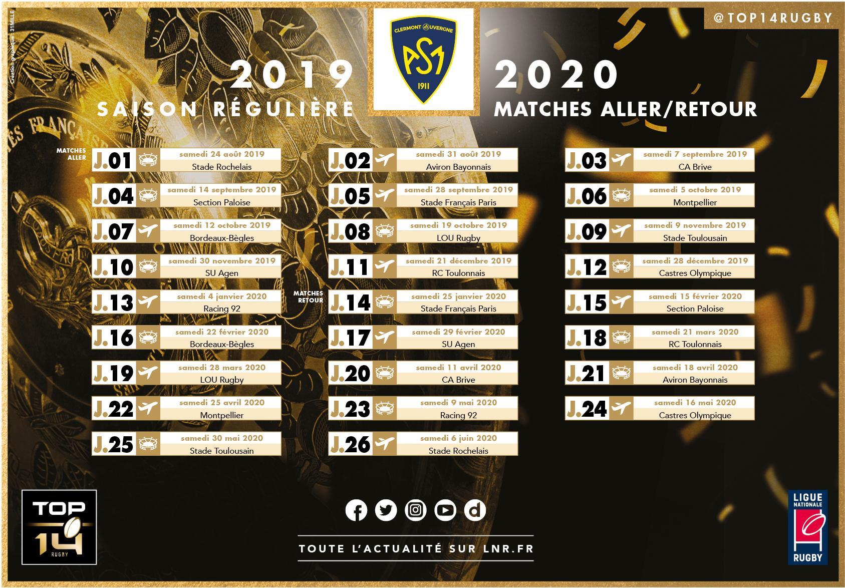 Calendrier Top 14 Rugby.Top 14 Le Calendrier De L Asm Devoile Pour La Saison